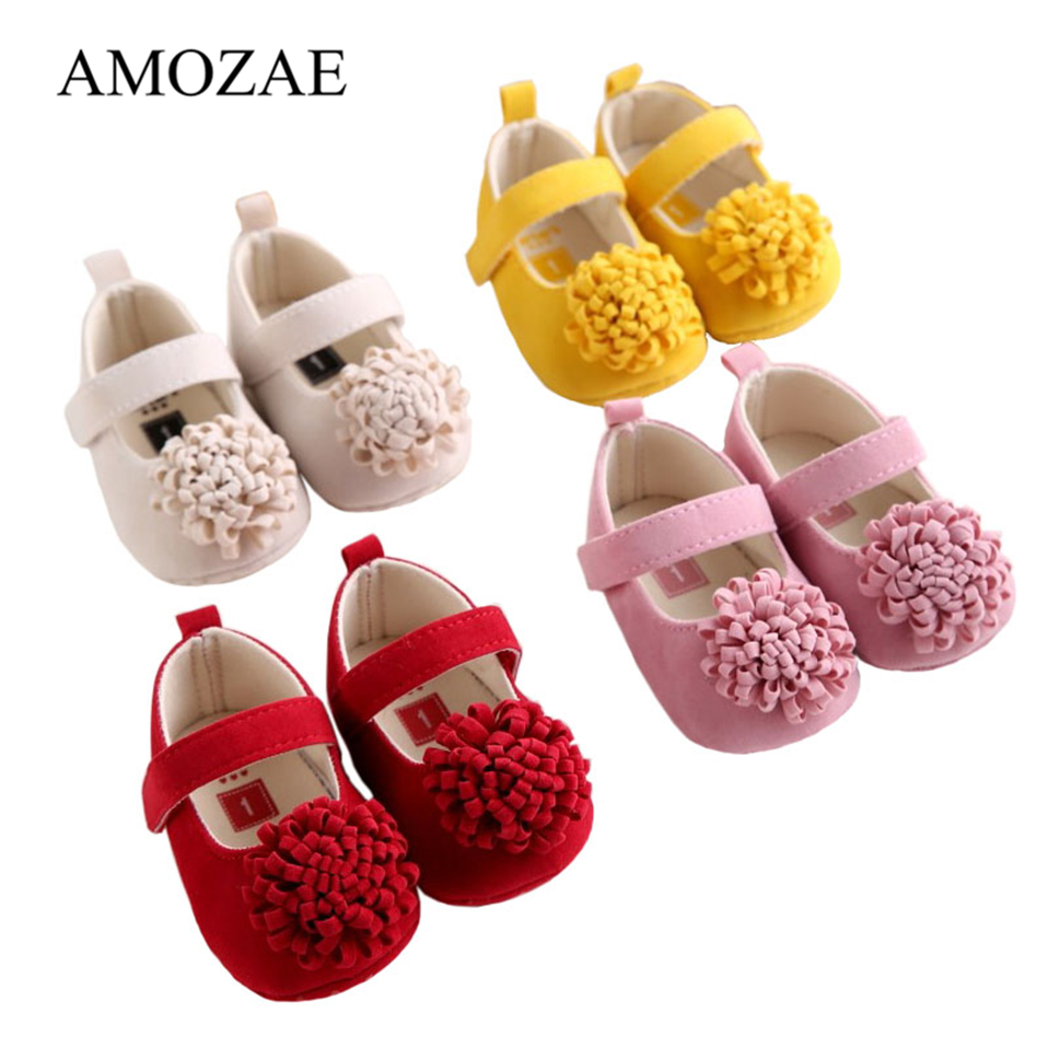 Candy Colors Newborn Baby Prewalker Soft Bottom Anti-slip Shoes Footwear Classic Princess Girl Crib Big Flower Shoes