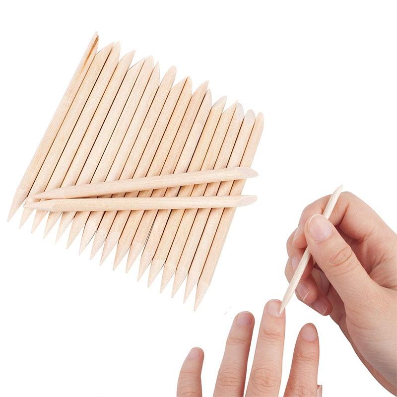 100Pcs Orange Wood Nail Sticks Double Sided Multi Functional Cuticle Pusher Remover Manicure Pedicure Tools Mini Skater HIAISB