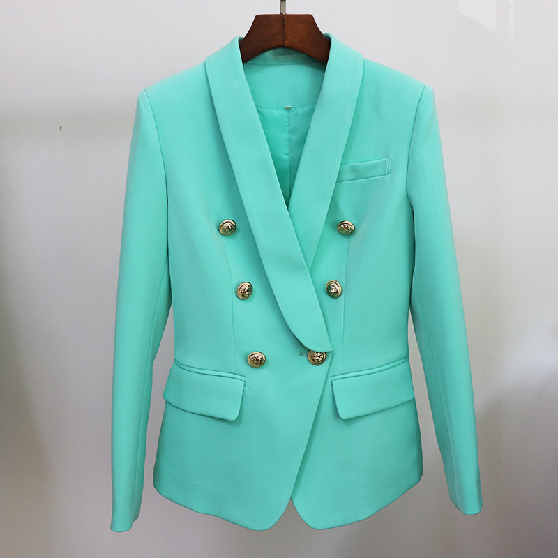 High-quality professional women blazer Winter Women's Fitted Metal Double-breasted Ladies Office Jacket Work clothes small suit