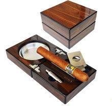 Yooap Роскошный складной сигары набор с пепельницей сигары резак, Дырокол резак сигары аксессуары Высокое качество пепельница лучший подарок для мужчин