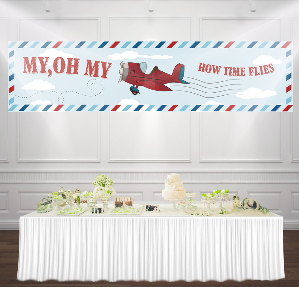 9.8x1.5ft Aircraft <font><b>boy</b></font> <font><b>Baby</b></font> <font><b>Shower</b></font> <font><b>Backdrop</b></font> Old airplane cartoon theme birthday party decoration banner Photo Background BN-1024 image