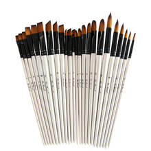 6 nylon wood wool watercolor handle paint brush sets learning DIY acrylic oil painting supplies
