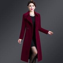 Mulheres casaco de lã 2019 outono inverno plus size 5xl elegante casaco longo feminino jaqueta lã misturas casaco alta qualidade abrigos mujer