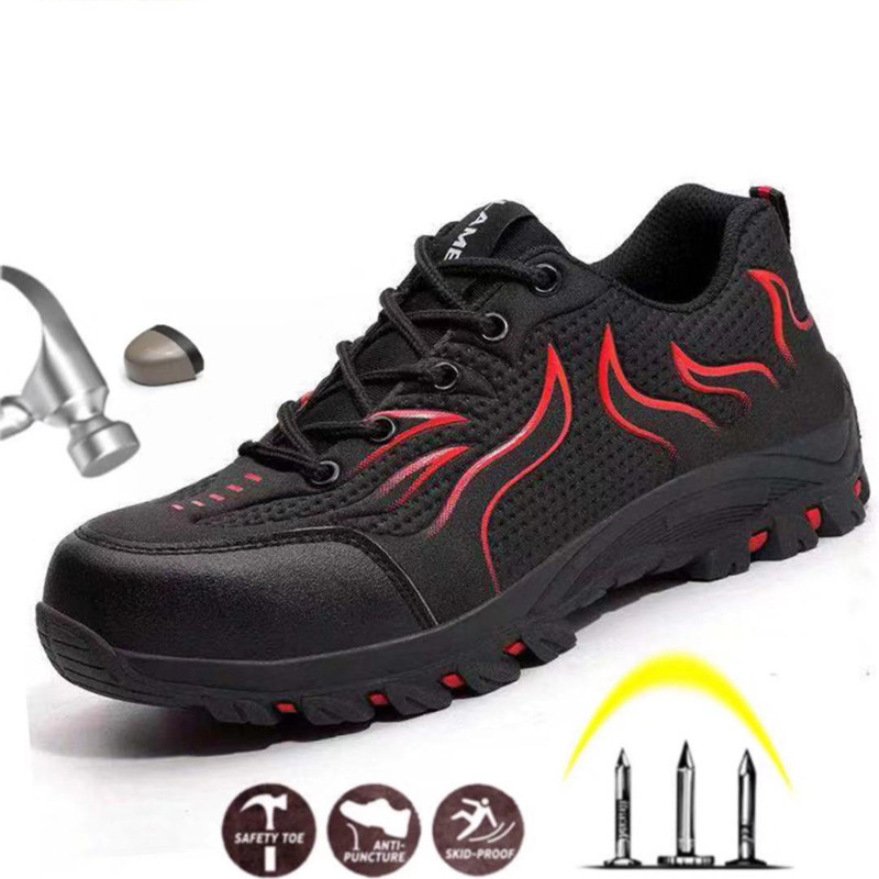 Best selling new men's breathable steel toe cap safety shoes men's outdoor non-slip steel puncture waterproof construction boots image