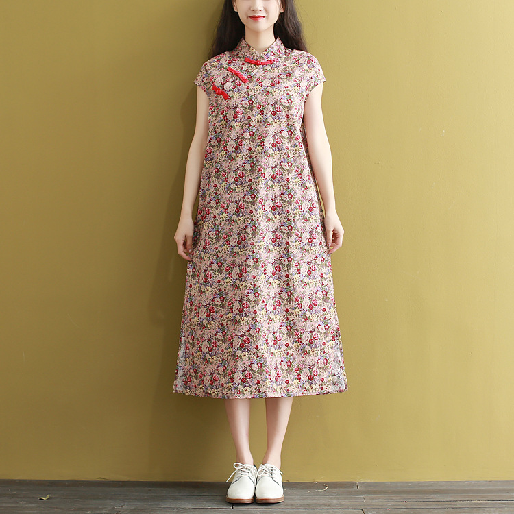 Photo Shoot Mori Girl Line Spring And Summer New Style Cotton Linen Improved Cheongsam Dress Women's