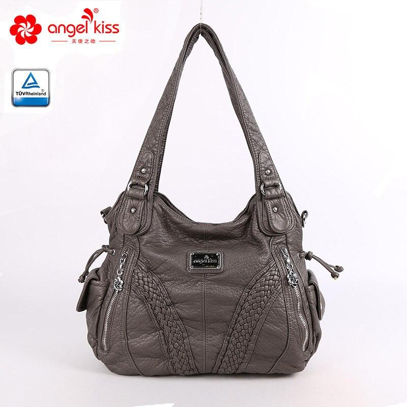 Fashion High Quality Casual Designer Hobos Tote Handbag Women Bags Washed PU Leather Shoulder Sling Bags