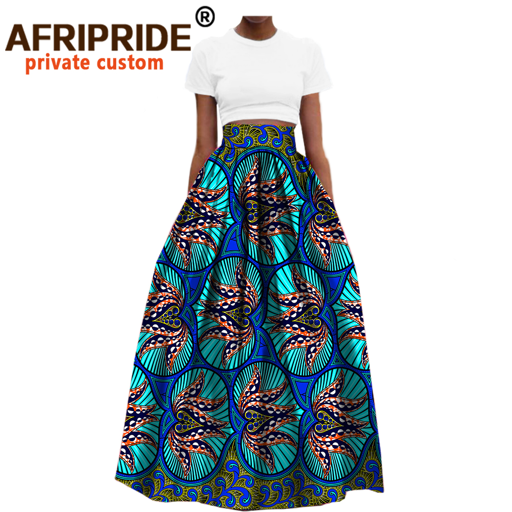 2020 African Clothes Ankle Length Formal Cotton Skirt For Women Dashiki Print Maxi Fabric Wax  Ball Grown AFRIPRIDE A722709