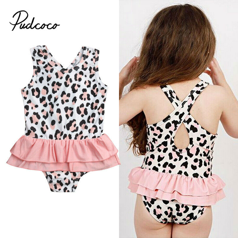 Pudcoco Leopard Swimsuit 2020 New Summer Sleeveless Ruffles Girls Swimming Suit Cute Infant Swimwear One-Pieces Baby Rompers