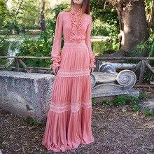 Высокое качество, новейшая мода, подиум, дизайнерское платье, женское, с рюшами, кружевное, украшенное, длинное платье