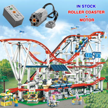 18003 With Motor Creator Expert Roller Coaster Technic Set Buidling Blocks Bricks Compatible 10261 Birthday Gifts Toys