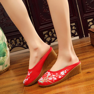Image 5 - Veowalk High End Floral Embroidered Womens Casual Canvas Wedge Slippers Medium Heel Summer Comfot Slides Shoes Sandials Mujer