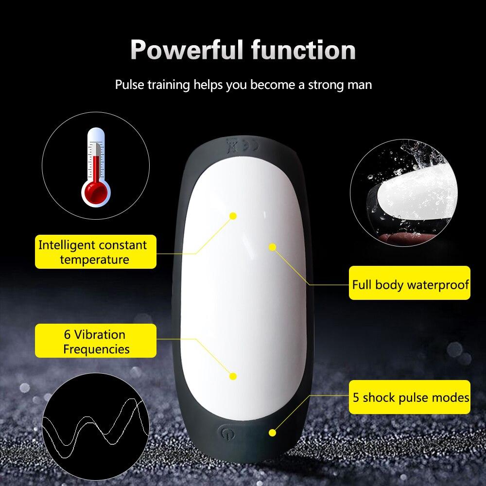 Adult Sex Toys For Men Penis Delay Trainer Vibrator Automatic Telescopic Male Masturbator Cup Heating Oral Blowjob Sex Machine