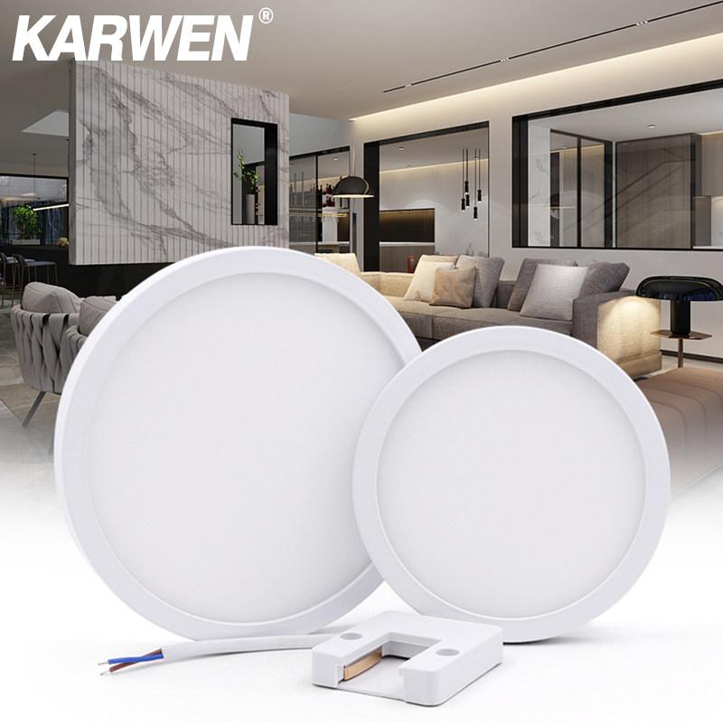 KARWEN High Brightness LED Ceiling Lights AC 85-265V LED Panel Lamp 6w 9w 13w 18w 24w Lampada LED Ceiling Lamp For Living Room