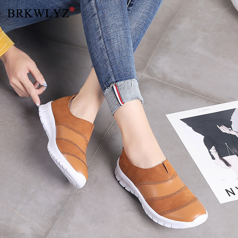 Autumn Fashion Flat Women Shoes Genuine Leather Casual Sneakers Shoes Woman Slip-on Loafers Ladeis Shoes Chaussure Femme