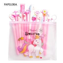 цена на 10Pcs/Lot Gel Pen Set Kawaii Unicorn Pen Stationery School Write Supplies Black Ink Gel Pen Office Suppliers Cute Pen Kids Gifts