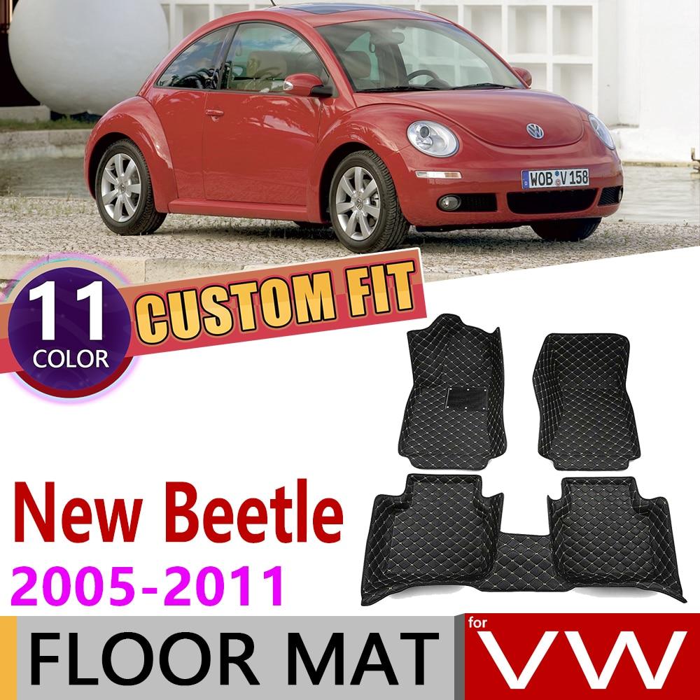Custom Car Leather Floor Mat For Volkswagen VW New Beetle Bjalla 2005~2011 5 Seats Foot Pad Carpet Accessories 2006 2007 2008