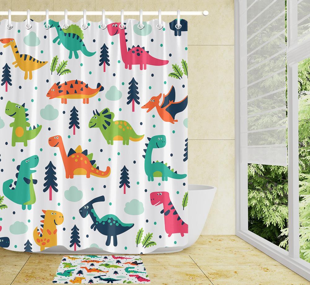 Dinosaur Pattern Kids Shower Curtain