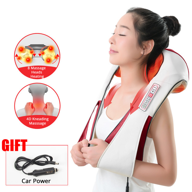 (with Gift Box) KLASVSA Electric Heating Neck Massager Car Home Infrared KneadingTherapy Ache Shoulder Back Massageador Relax 1