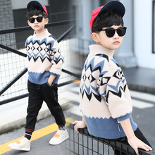Childrens Knitted Sweater for Teenage Boys Imitation Mink Wave Pattern School Pullovers Tops Todder Winter Clothes