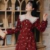 2020 Autumn New Arrival High Quality Retro Peter Pan Collar Flower Printed Women Long Cotton Dress 4