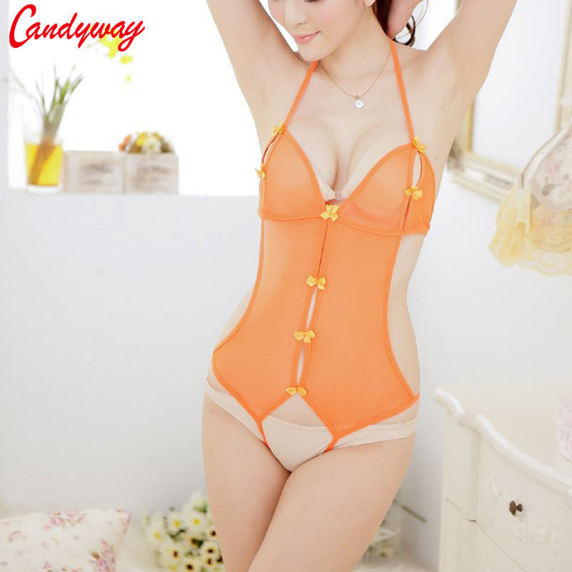 Candiway <font><b>Sexy</b></font> Orange Lace Perspective Bodysuit <font><b>Babydoll</b></font> One Piece <font><b>Lingerie</b></font> Teddy Open Crotch Backless Bodysuit image
