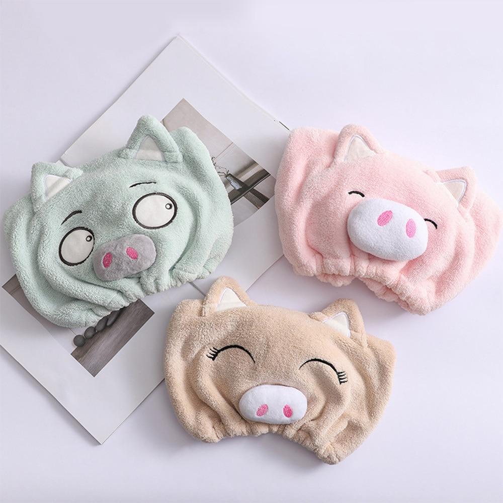 Cute Cartoon Pig Cap Microfiber Hair Turban Quickly Dry Hair Hat Wrapped Towel Bathing Cap Cute Girl Shower Hair Cap Bonnet