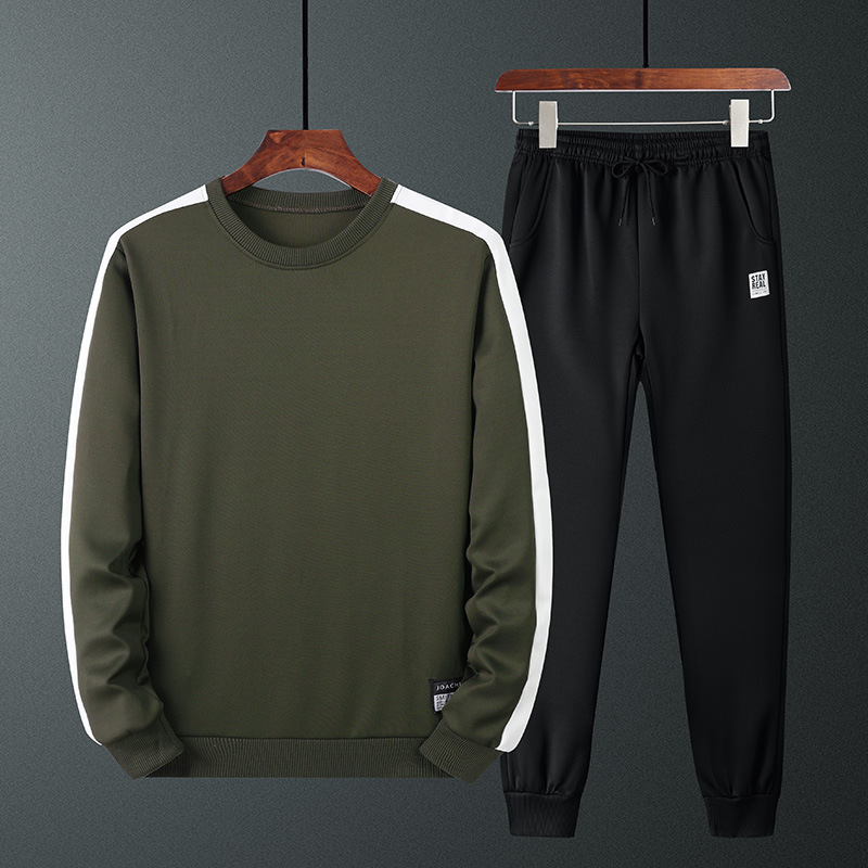 2019 Autumn New Style Men Long-sleeved Sweater Korean-style Men'S Wear Teenager Round Neck Sweater Casual Trousers Set Men's