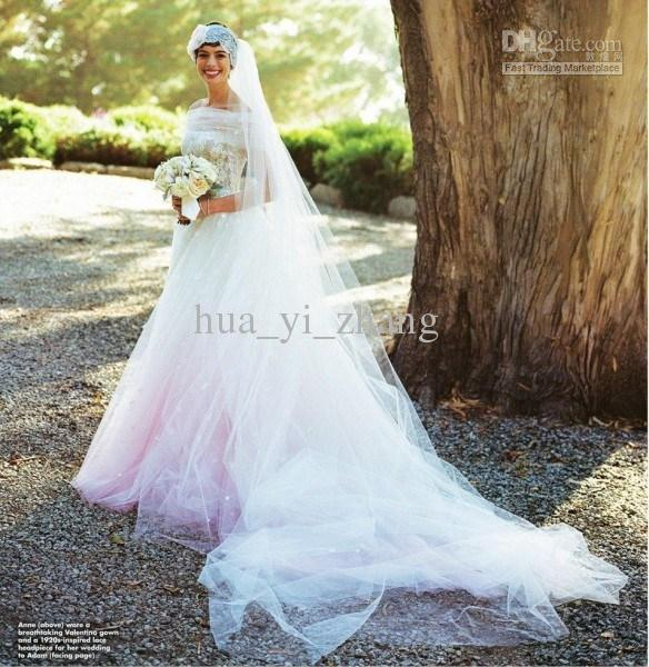 2018 Vestido De Noiva Elegant Anne Hathaway Wedding Dress Mariage Robe Strapless Neckline Tulle Lace Floor Length Bridal Dresses