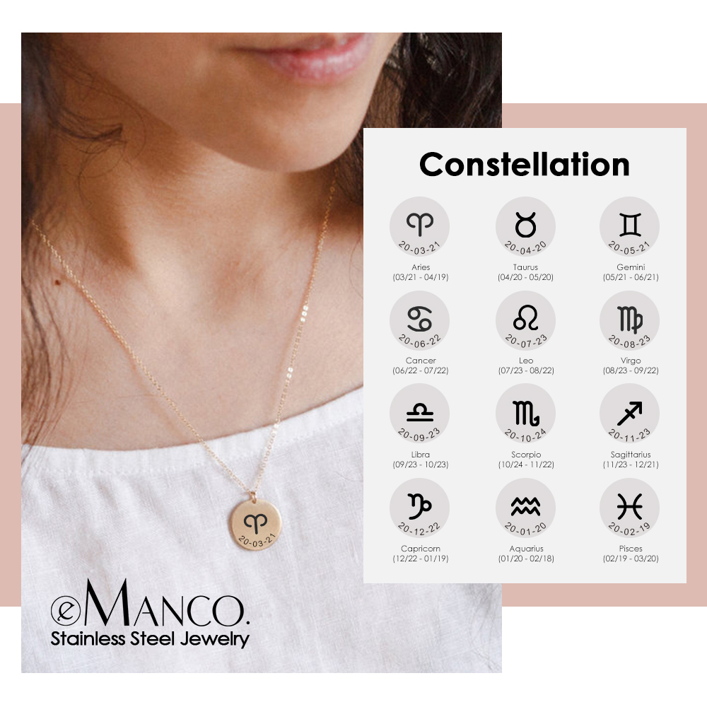 eManco Custom Personalized Zodiac Necklace for women Not Fade Gold Color 316L Stainless Steel Necklace 15mm Pendant Necklace