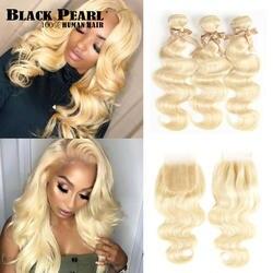 Черный жемчуг 613 блондинка Связки с синтетическое закрытие волос Малайзии средства ухода за кожей волна Remy человеческие волосы Weave 613