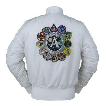 Chaqueta de aviador de invierno vintage MA-1 APOLLO para hombre, ropa de calle, abrigo cálido varsity hip hop baseball letterman pilot Fuerza Aérea DE LOS EE.UU.