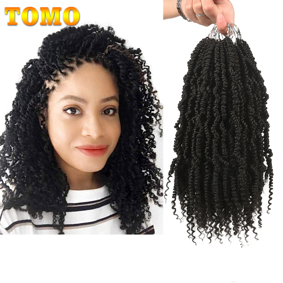 TOMO Bomb Twist Crochet Hair 12 Inch 24s Spring Twist Prelooped Crochet Braids Synthetic Hair Extension Passion Twist  For Women