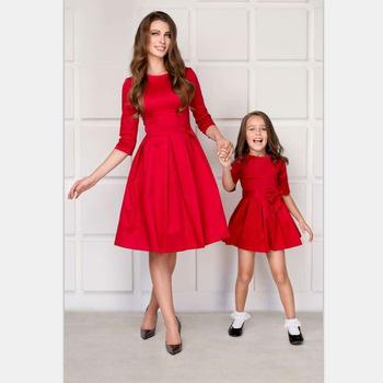 Stroje dla dzieci dla dzieci sukienki dla córki dla matki ubrania dla mamy sukienki dla mamy siostra dla dzieci sukienki dla dziewczynek dopasowanie dla mamy i córki tanie i dobre opinie amemerio CN (pochodzenie) Suknie Na co dzień Połowa Pasuje prawda na wymiar weź swój normalny rozmiar Poliester Stałe