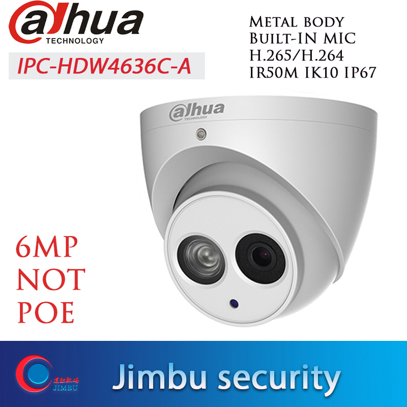 Dahua Câmera IP IPC-HDW4636C-A 6MP H.265 invólucro de Metal MICROFONE Embutido IR50m IP67 IK10 languag múltipla Não POE câmera Dome CCTV