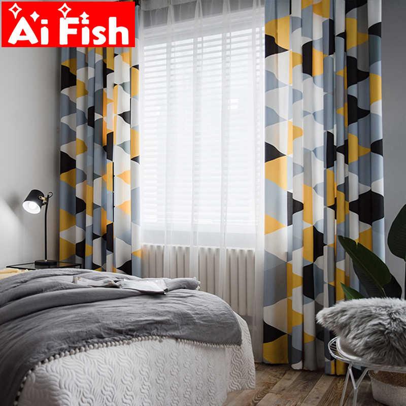 rideaux a impression numerique minimaliste moderne scandinave demi teinte jaune gris geometrie tulle blanc pour salon my193 5
