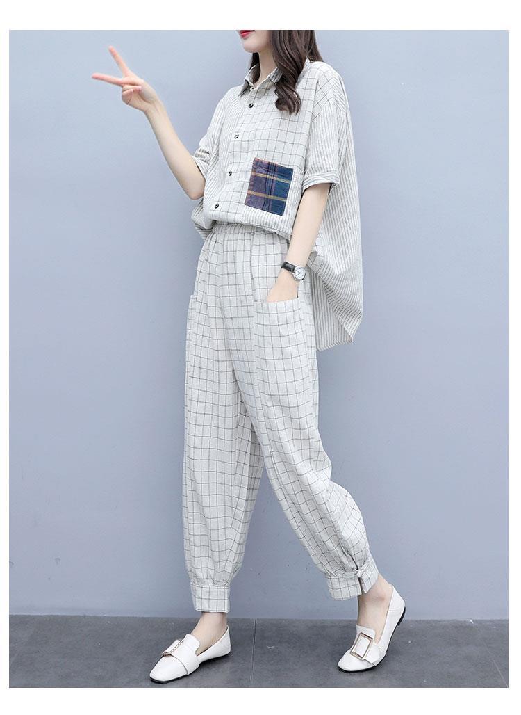 2019 Women Office Plaid Loose 2 Piece Sets Lrregular Blouse Plus Size Sets Elastic Waist Long Pants Casual Set
