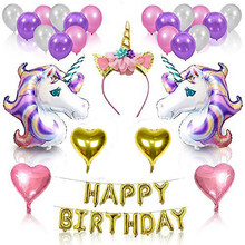 Mor Unicorn tema doğum günü balon seti parti malzemeleri seti Unicorn aşk balon 116