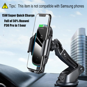 Image 3 - Baseus 15W Qi Car Wireless Charger Dual Mode Intelligent Infrared Fast Wireless Charging Car Mount for Air Car Phone Holder