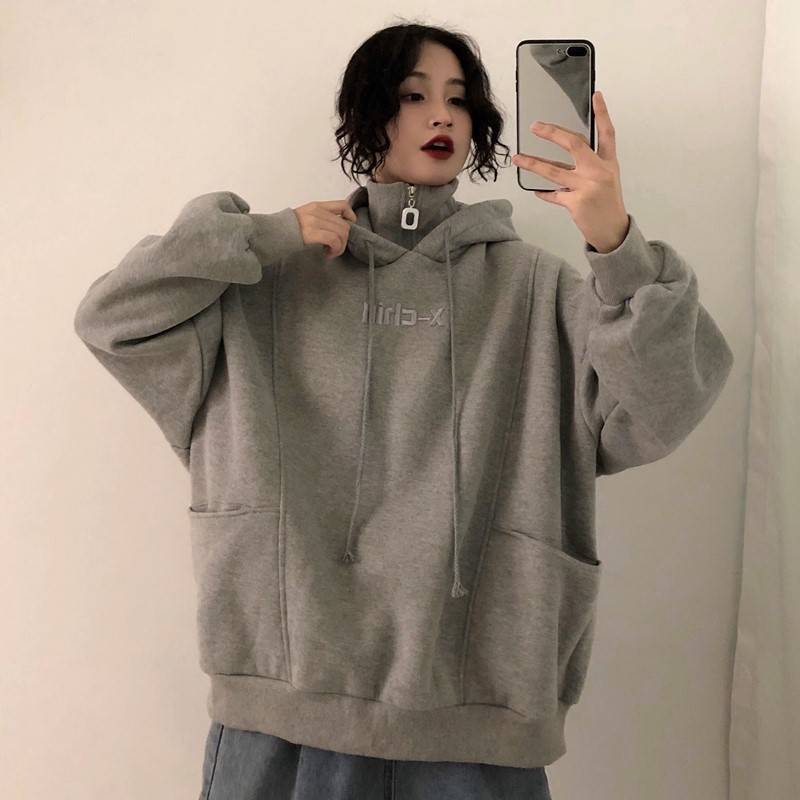 Korean Version Of The Turtleneck Hoodies Sweatshirt Woman Autumn Winter New Students Loose Casual Large Size Was Thin Coat Tide