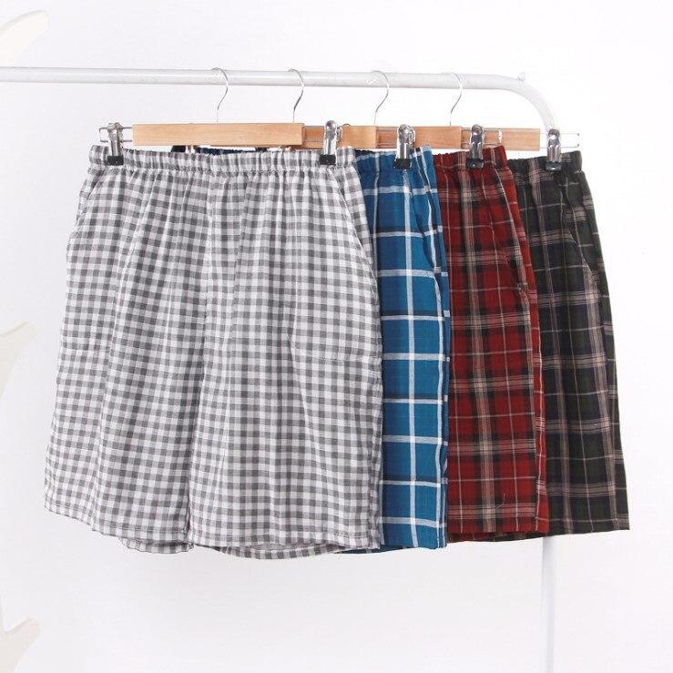 Summer New Men's Cotton Home Five-point Pants Shorts Double Gauze Cotton Casual Living Pants Beach Pants Tide