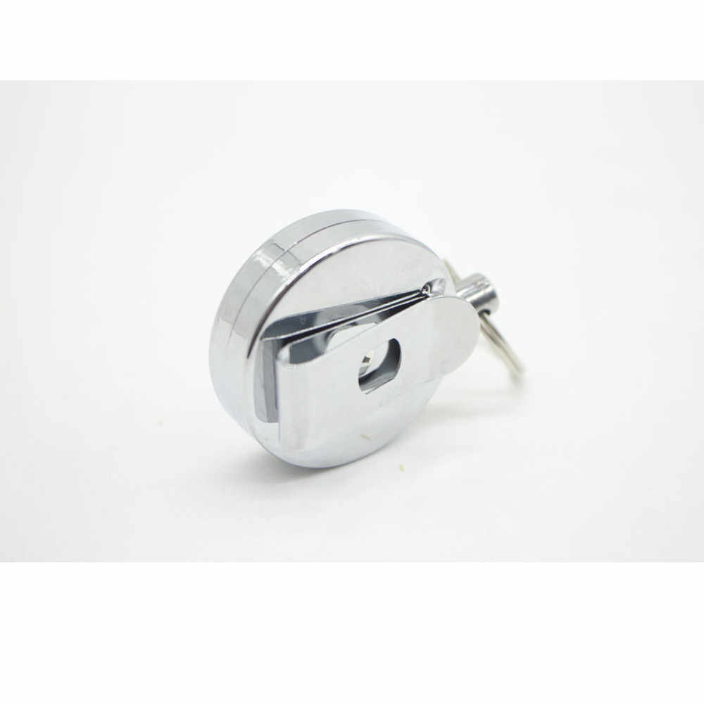 Srebrny Metal chowany i wyciągany łańcuch kołowrotek etui na kartę identyfikacyjną brelok do kluczy pasek odrzutu zacisk mocujący Reel odrzut zaczep na pasek 19SEP17