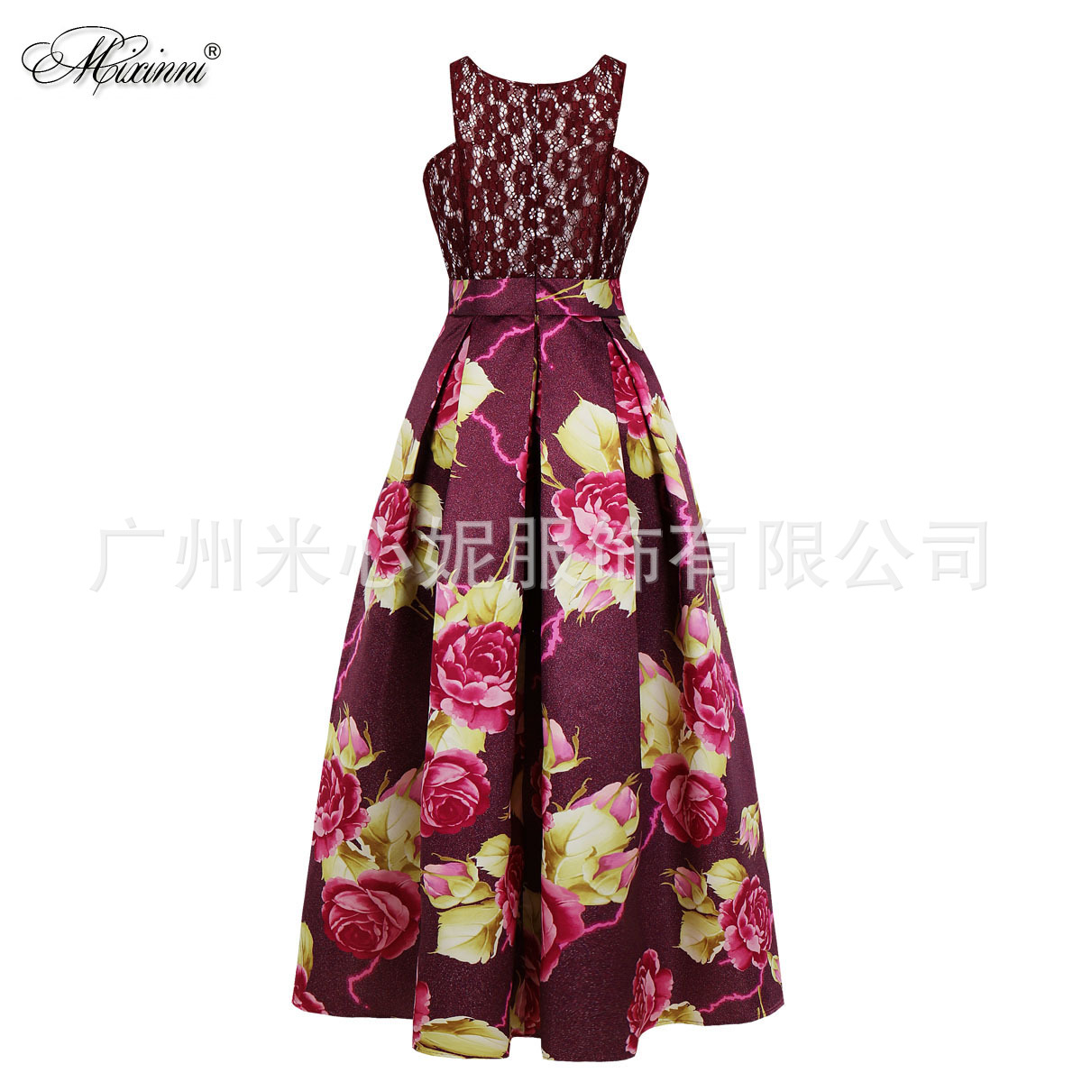 Hot Selling Large Size Dress Formal Dress Europe And America Host Lace Printed Dress Light Formal Dress 8165