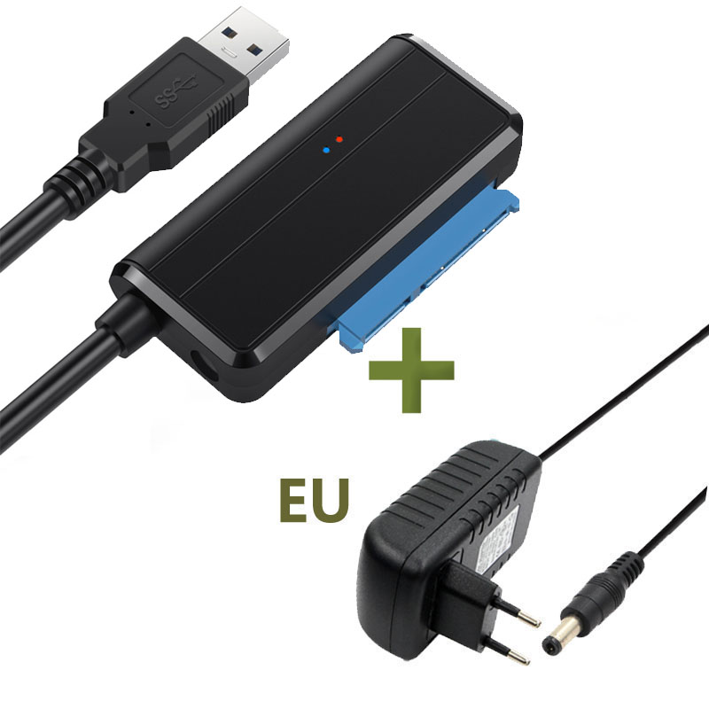 USB 3.0 To <font><b>SATA</b></font> with 12V 2A AC DC EU Power Adapter Cable for <font><b>3.5</b></font> 2.5 inch HDD <font><b>SSD</b></font> Hard Disk Support 1TB 2TB 4TB 2.5'' <font><b>3.5</b></font>'' HDD image