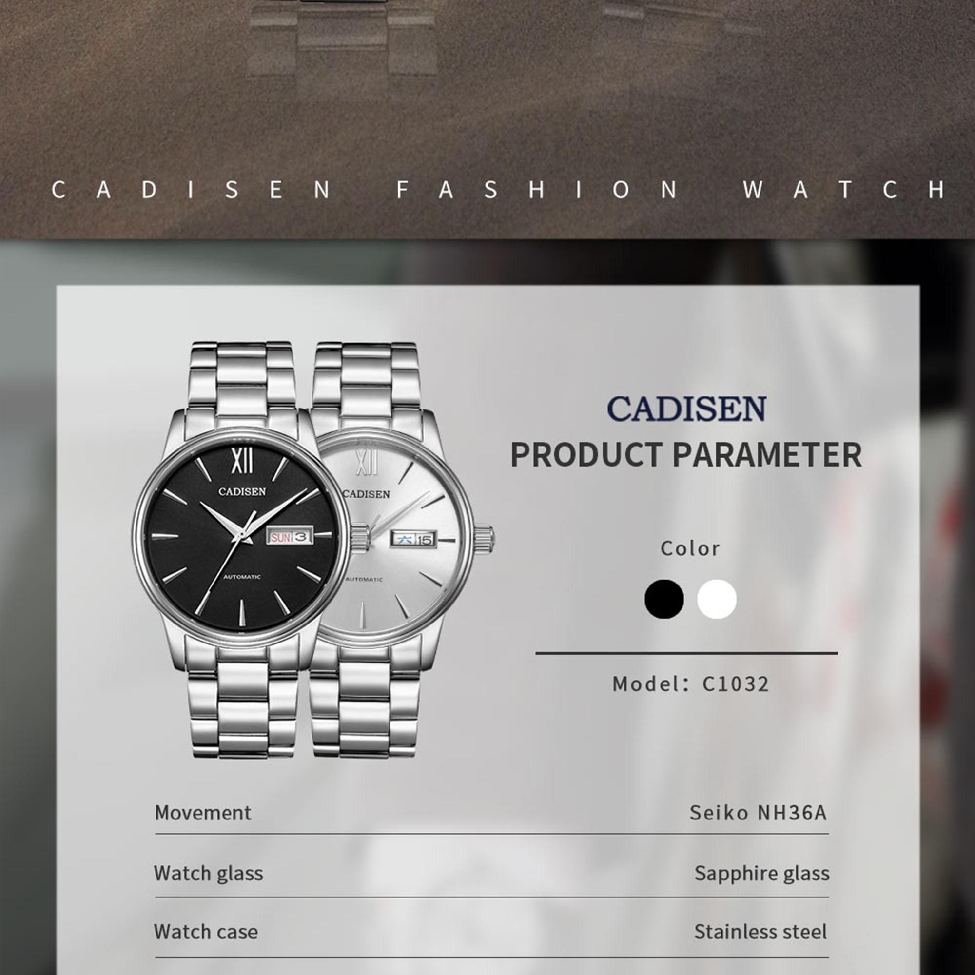 H469471844f3844b7affbb81a1aa5d71fH CADISEN Men Watch Automatic Mechanical Watches Role Date Week Top Luxury Brand Japan NH36A Wrist watch Clock Relogio Masculino
