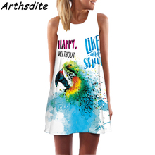 Arthsdite 2018 Fashion Girl Chiffon Dress Floral Print Women Summer Dress Round Neck Sleeveless Beach Dress Large Size Vestidos