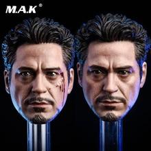 1/6 Scale Avengers MK5 2.0 Tony Headplay Iron Man Head sculpt Racing suit Carving Model Fit 12 male body Figure