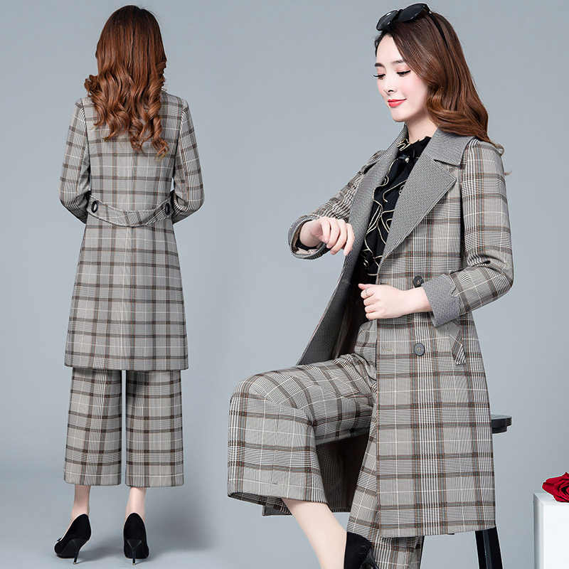 Conjunto de duas peças roupas femininas 2020 ternos de negócios formais escritório ternos trabalho elegante cinza das mulheres manga longa blazer lw086