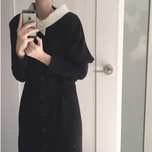 Осеннее женское длинное платье с длинным рукавом однобортное Платье-туника тонкое корейское Элегантное повседневное зимнее винтажное платье большого размера Vestidos