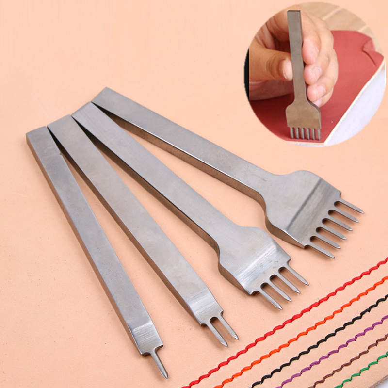 1 Set 6mm Leather Craft Tools Hole Punches Stitching Punch Tool 2+4+6 Prong