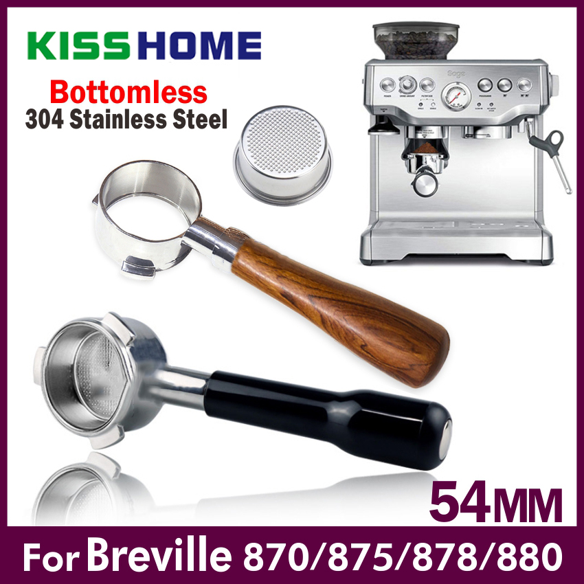54mm Coffee Bottomless Portafilter For Breville 870/878/880 Filter Basket Stainless Steel Replacement Espresso Machine Accessory
